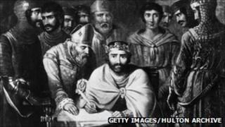 The documents were signed in Runnymede by King John