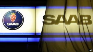 Saab logo on a curtain