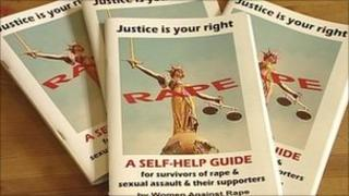 Leaflets at a rape support group