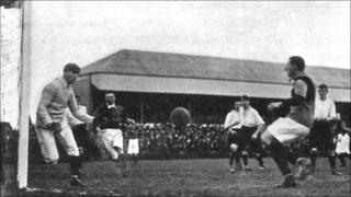 Goalkeeper Leigh Richmond Roose in action for Stoke in around 1904