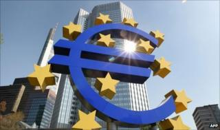 Euro in front of the European Central Bank (ECB) in Frankfurt