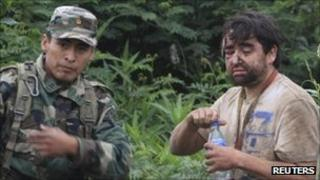 Minor Vidal (right) found after his plane crashed in Bolivia - 9 Sept 2011