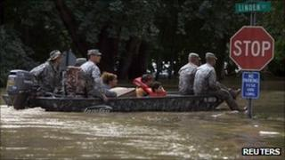 National Guard rescue stranded residents in West Pittston, Pennsylvania
