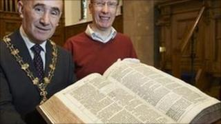 Inverness provost Jimmy Gray and the Reverend Peter Nimmo with King James Bible. Pic: Highland Council