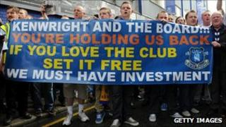 Protesters outside Goodison Park