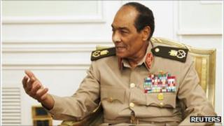 Field Marshal Mohamed Hussein Tantawi, head of Egypt's ruling military council, speaks with visiting Chinese Foreign Minister Yang Jiechi (not pictured) in Cairo May 3, 2011