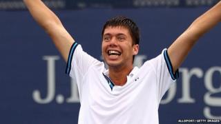 British teenager Oliver Golding celebrates winning the US Open boys' title