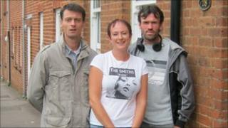 Liz Bates (centre), a worker with NORCAS, with two clients to benefit from the service