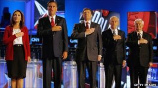 Candidates at the CNN/Tea Party debate on 12 September 2011.