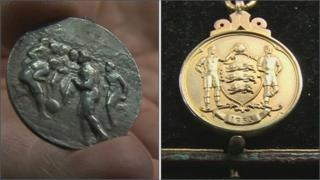 Sir Thomas Lipton Trophy winner's medal (left) and 1955 FA Cup winner's medal (right)