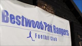 Sign saying Bestwood Park Rangers on the club's pavilion