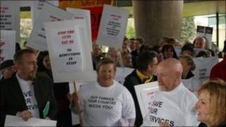 Protest outside Shirehall