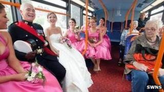 Wedding party on bus