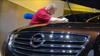 Opel car being polished