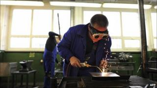 Student welders at a retraining facility for unemployed Germans in Neubrandenburg (archive image)