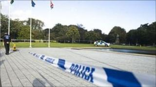 Police tape at fountain outside Cardiff City Hall