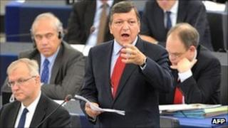 European Commission President Jose Manuel Barroso (second right) talks at the European Parliament, Strasbourg, France, 14 September 2011