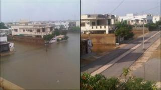 Saad Ali took these pictures of flood waters in Defence, Karachi, Pakistan