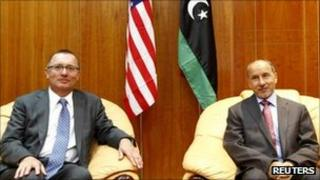 US envoy Jeffrey Feltman (left) with Mustafa Abdul Jalil, chairman of Libya's National Transitional Council, in Tripoli, Libya, 14 September 2011