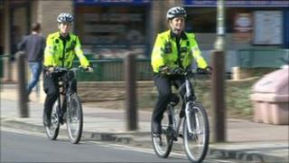 Police officers on bikes in Carterton