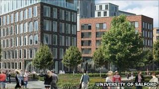 Artist's impression of the new student village at the University of Salford