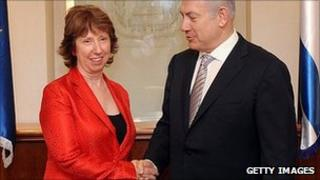 Catherine Ashton with Benjamin Netanyahu. 13 Sept 2011