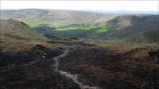 Moorland plateau in the Derbyshire Peak District