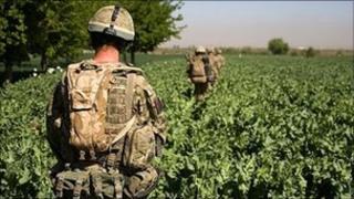Generic image of British soldiers patrolling in Afghanistan