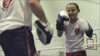 Abbey Jo Longley training at her local boxing club