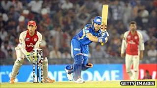 Action from the IPL Twenty 20 cricket match between Kings XI Punjab and Mumbai Indians