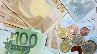 Euro currency notes and coins