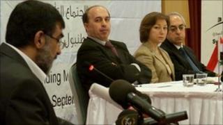 Syria's new national council is announced in Istanbul. From left: Imad Eldin Rashid, Ahmed Ramadan, Basma Kadmadi and Abdulbaset Sida.