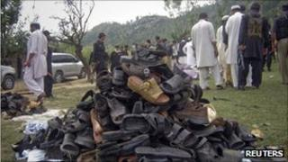 Footwear worn by villagers targeted by the suicide bomber