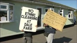 Traveller protesters at dale Farm