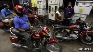 A fuel station in Calcutta on 15 September 2011