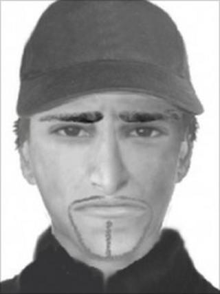 An e-fit image of the suspected killer of Dr Imrun Farooq
