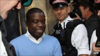 Kweku Adoboli leaving City of London Magistrates Court