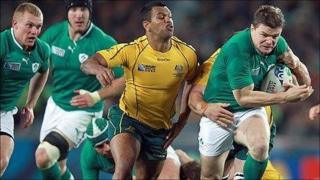 Action from Ireland v Australia