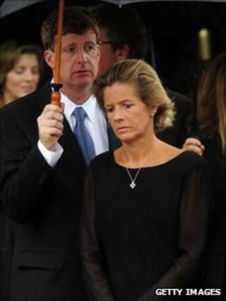 Patrick and Kara Kennedy at their father's funeral - 29 August 2009