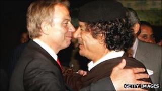 Tony Blair hugs Muammar Gaddafi in 2007