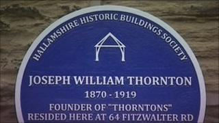 Blue plaque in Sheffield to mark Thorntons family home
