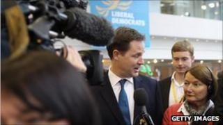 Nick Clegg at the Liberal Democrat conference in Birmingham
