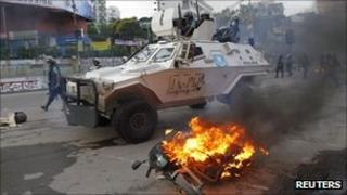 Armoured police vehicle in Dhaka on 19 September 2011