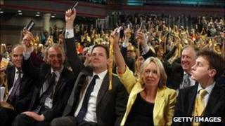 Voting at the Lib Dem conference