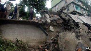 A building destroyed by the earthquake in Sikkim