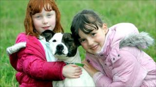Louise and Katie Hendry with Roxy [Pic: Peter Devlin for Scottish SPCA]