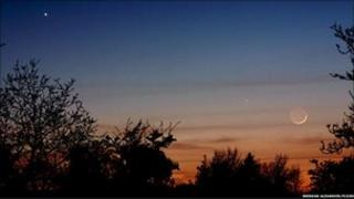 Venus, Mercury and a crescent Moon, taken from Killygordon, Co. Donegal, Ireland in April 2010