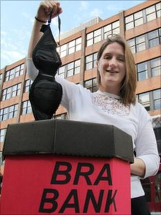 Claire Bell with bra bank. Photo: Middlesbrough Council