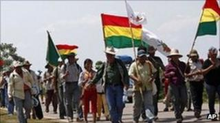 Indigenous protesters begin their march