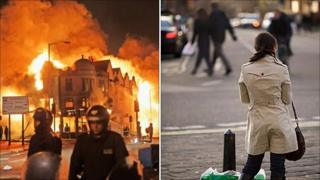 Riots in London, and a peaceful street scene